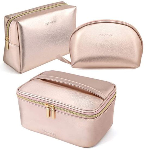 Rose Gold Makeup Bag Set
