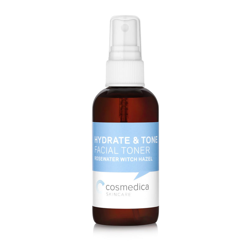 Bottle of our Hydrate & Tone Rosewater Witch Hazel Facial Toner