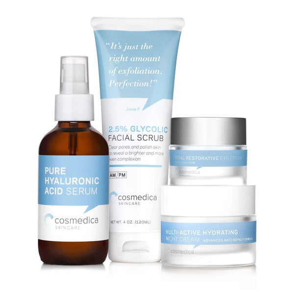 An image of a bundle of skin care essentials from Cosmedica Skincare in the Complete Complexion Kit.