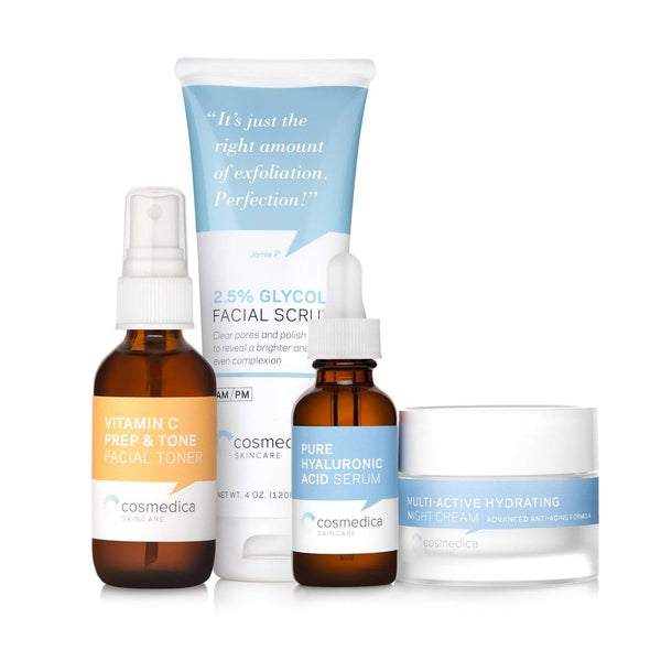 An image of a bundle of skin care essentials from Cosmedica Skincare in the Instant Brightening Kit.
