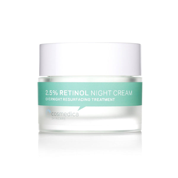 An image of a jar of 2.5% retinol skin cream from Cosmedica Skincare.