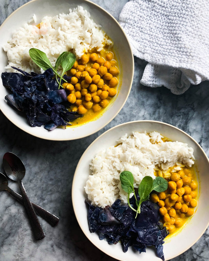 Vegan Coconut Chickpea Curry with purple cabbage and jasmine rice for an easy week night dinner