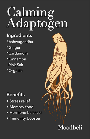 Calming Adaptogen Ingredients - Organic ashwagandha, ginger, cardamom, cassia cinnamon, and pink salt.
