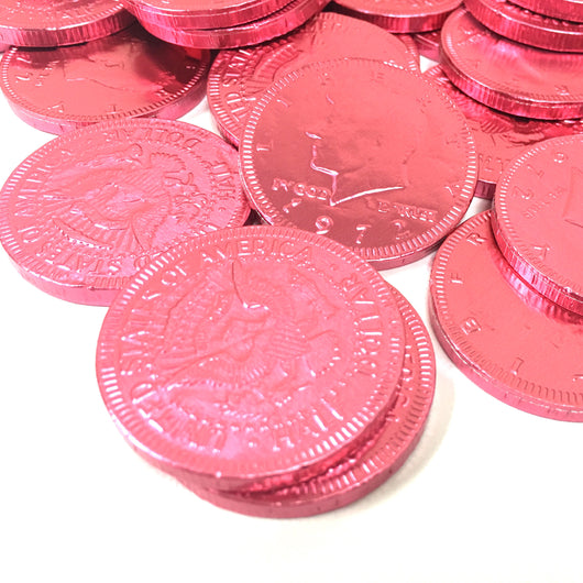 FORT KNOX CHOCOLATE COINS in BRIGHT PINK from Miami Candies Sweets & Snacks