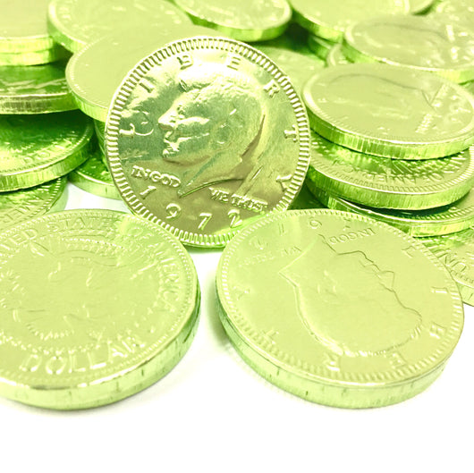 FORT KNOX CHOCOLATE COINS in LIME GREEN from Miami Candies Sweets & Snacks