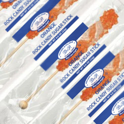 ORANGE ROCK CANDY STICKS from Miami Candies