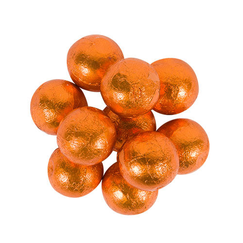 CARAMEL FILLED FOILED MILK CHOCOLATE BALLS - ORANGE