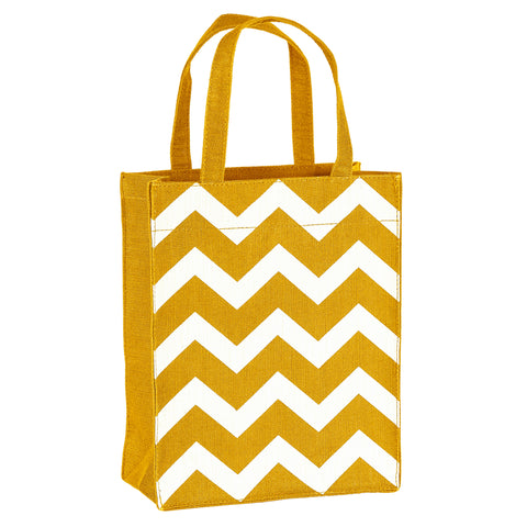 Gold & White Chevron Fabric, Reusable Gift Bag