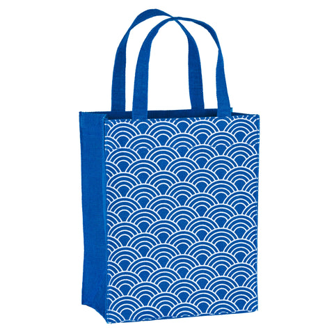 Navy Blue Scales Fabric Reusable Gift Bag by Illumen