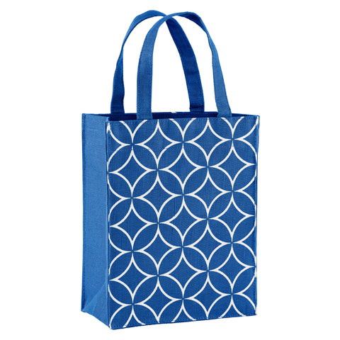 Navy Blue Art Deco Fabric Reusable Gift Bag by Illumen
