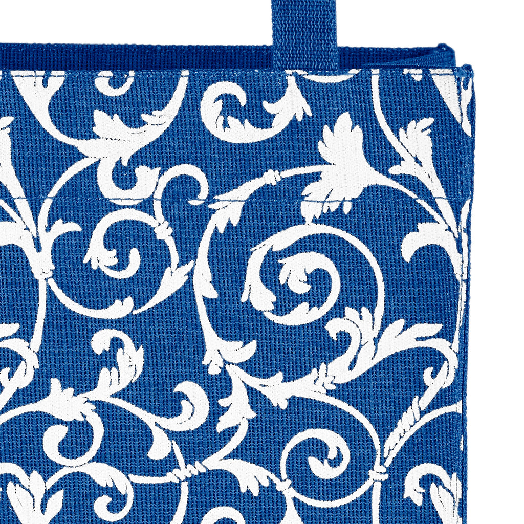 Navy Blue Floral Fabric, Reusable Gift Bag