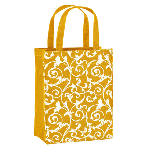 Gold Floral Fabric, Reusable Gift Bag