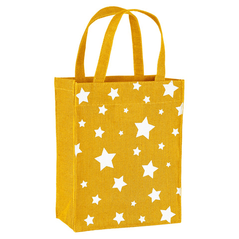 Gold & White Stars Fabric Reusable Gift Bag by Illumen