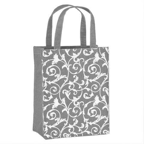 Grey Floral Fabric, Reusable Gift Bag