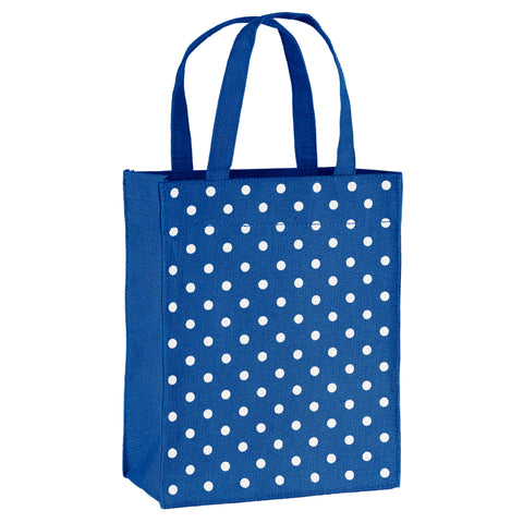 Navy Blue Polka Dots Fabric Reusable Gift Bag by Illumen