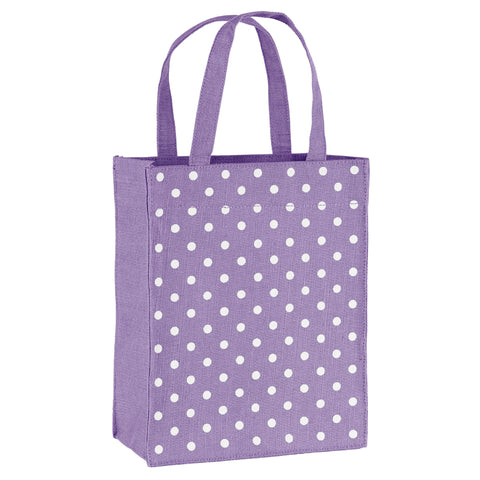 Violet Polka Dots Fabric Reusable Gift Bag by Illumen