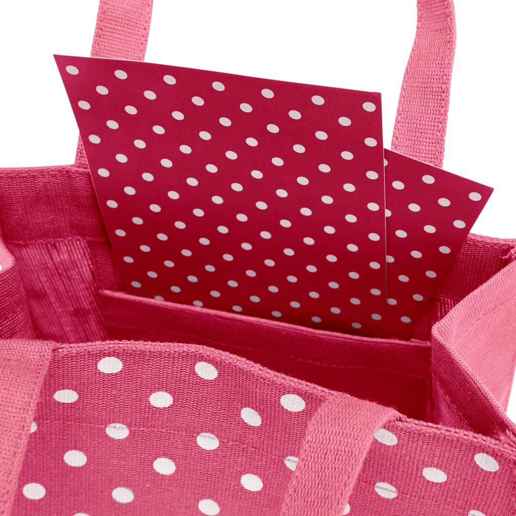 Magenta Polka Dots Fabric Reusable Gift Bag by Illumen