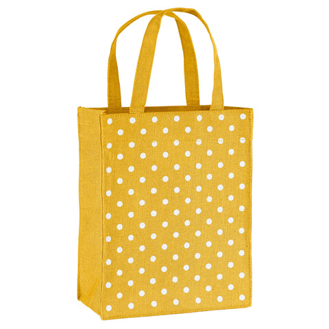 Gold Polka Dots Fabric Reusable Gift Bag by Illumen