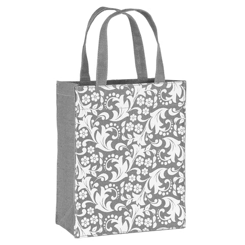 Grey Paisley Fabric Reusable Gift Bag by Illumen
