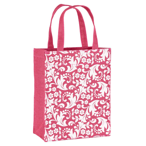 Magenta Paisley Fabric Reusable Gift Bag by Illumen