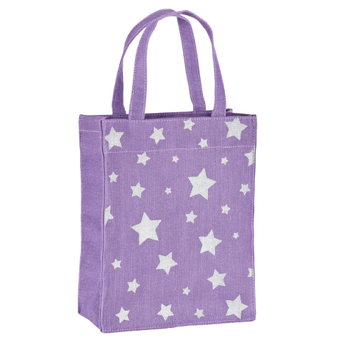 Violet & Silver Stars Fabric Reusable Gift Bag by Illumen
