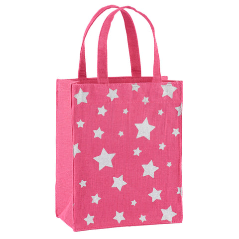 Magenta & Silver Stars Fabric Reusable Gift Bag by Illumen