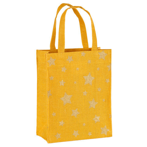 Gold & Gold Stars Fabric Reusable Gift Bag by Illumen