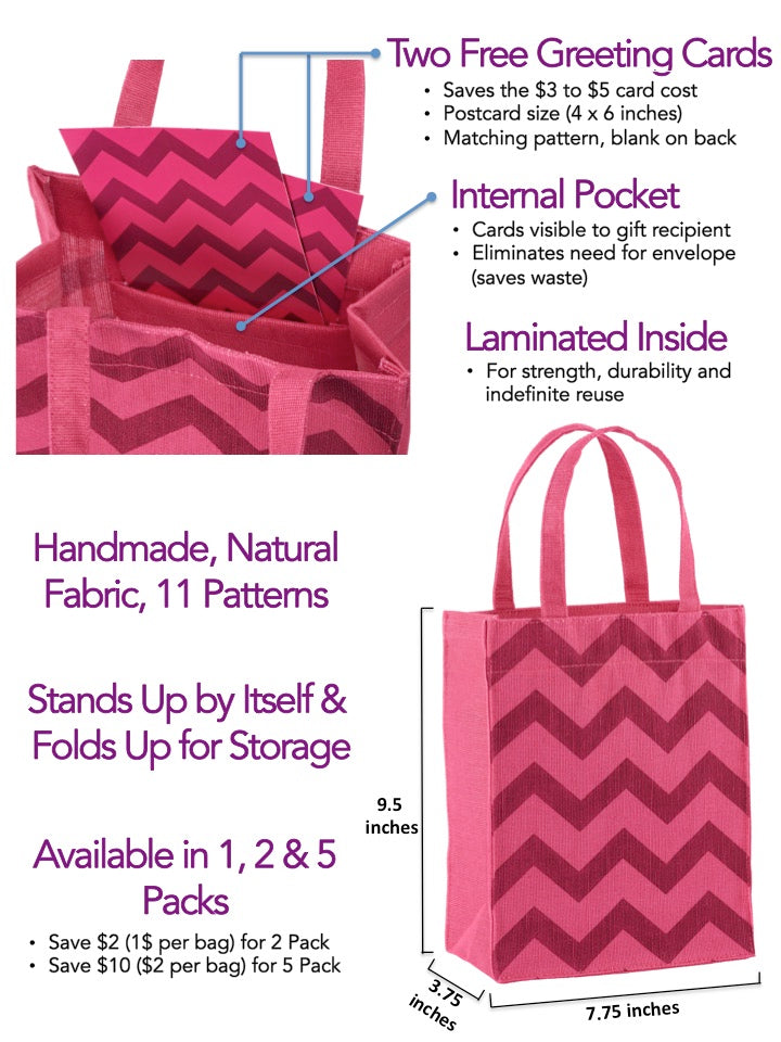 Magenta Chevron Fabric, Reusable Gift Bag