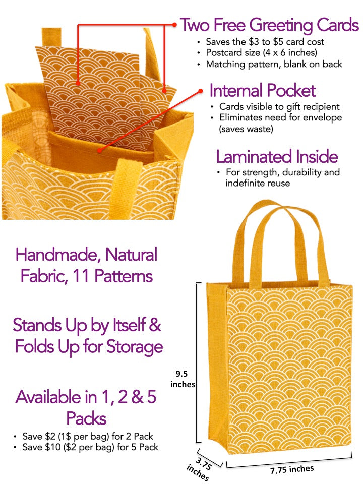 Gold Scales Fabric, Reusable Gift Bag - 1 Pack