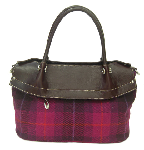 Harris Tweed Cerise Handbag Alberta - Chantam - Beautifully designed Tartan and Harris Tweed handbags and accessories