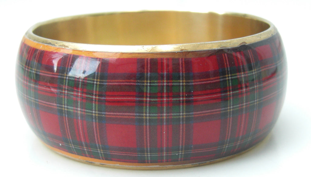 Royal Stewart Enamel Bangle - Chantam - Beautifully designed Tartan and Harris Tweed handbags and accessories