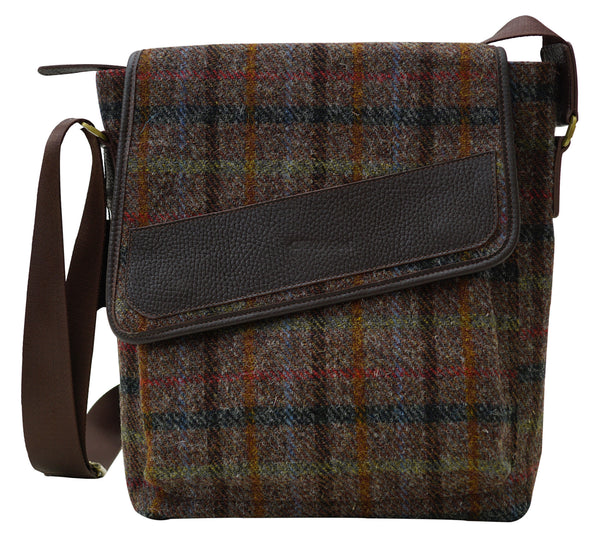 Harris Tweed Mens Traverse Handbag HTChoc - Chantam - Beautifully designed Tartan and Harris Tweed handbags and accessories