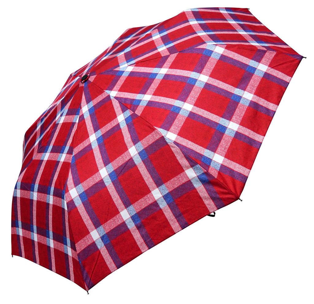 ST Red, Blue Tartan, Tweed Pattern Umbrella with pongee fabric - Chantam - Beautifully designed Tartan and Harris Tweed handbags and accessories