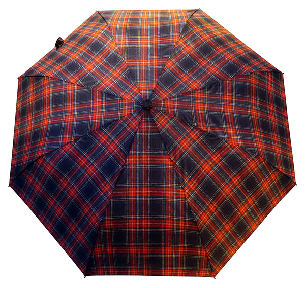 Stewart Black Umbrella with bamboo handle - Chantam - Beautifully designed Tartan and Harris Tweed handbags and accessories