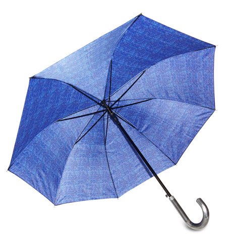 ST Blue Herringbone Print Double Layer Umbrella with pongee fabric - Chantam - Beautifully designed Tartan and Harris Tweed handbags and accessories