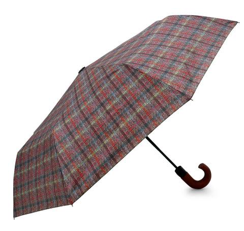 HT Brown Umbrella - Chantam - Beautifully designed Tartan and Harris Tweed handbags and accessories