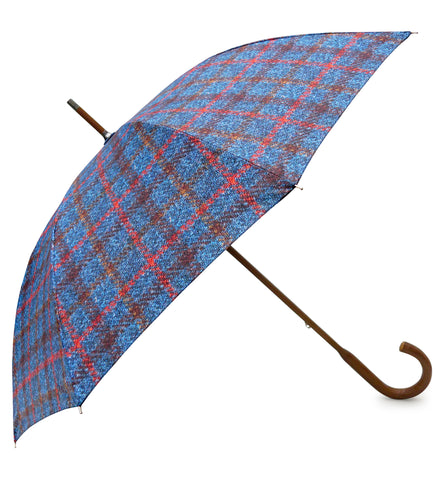 Navy Tartan Tweed Pattern Umbrella with elm wood handle, pongee fabric - Chantam - Beautifully designed Tartan and Harris Tweed handbags and accessories