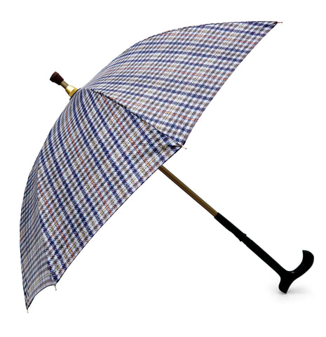 ST Small Check Tartan Tweed Print Walking Stick Umbrella with pongee fabric - Chantam - Beautifully designed Tartan and Harris Tweed handbags and accessories