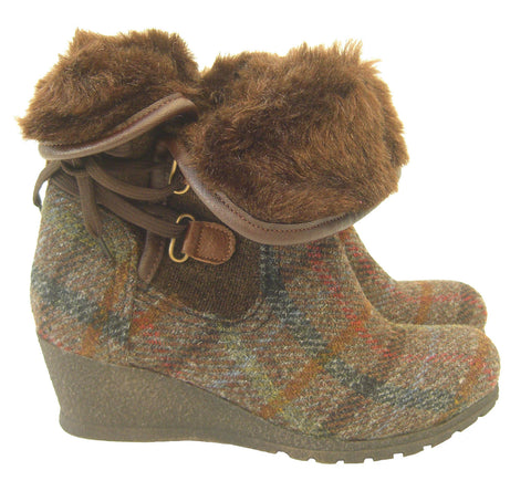 Harris Tweed Brown Boots - Chantam - Beautifully designed Tartan and Harris Tweed handbags and accessories