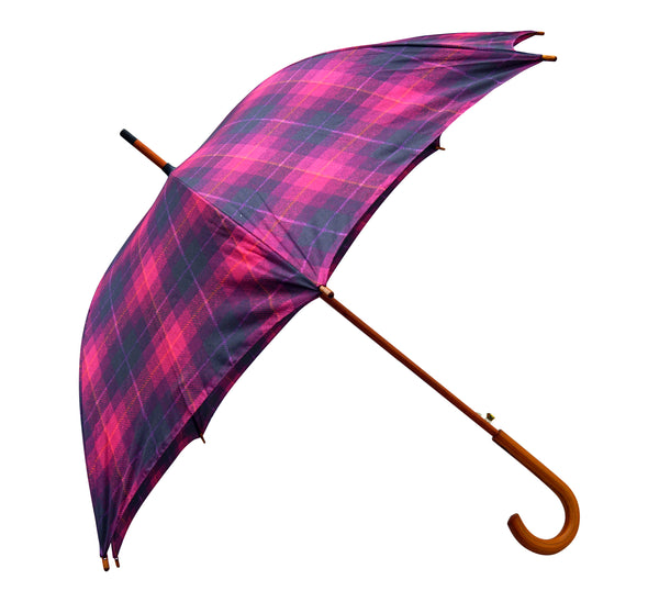 ST Cerise Tartan Tweed Print Umbrella with pongee fabric - Chantam - Beautifully designed Tartan and Harris Tweed handbags and accessories