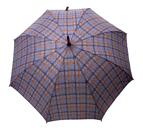 ST Gray Tartan Tweed Pattern umbrella with wooden handle pongee fabric