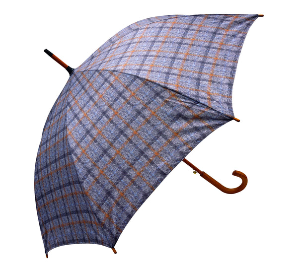 ST Gray Tartan Tweed Pattern umbrella with wooden handle pongee fabric - Chantam - Beautifully designed Tartan and Harris Tweed handbags and accessories