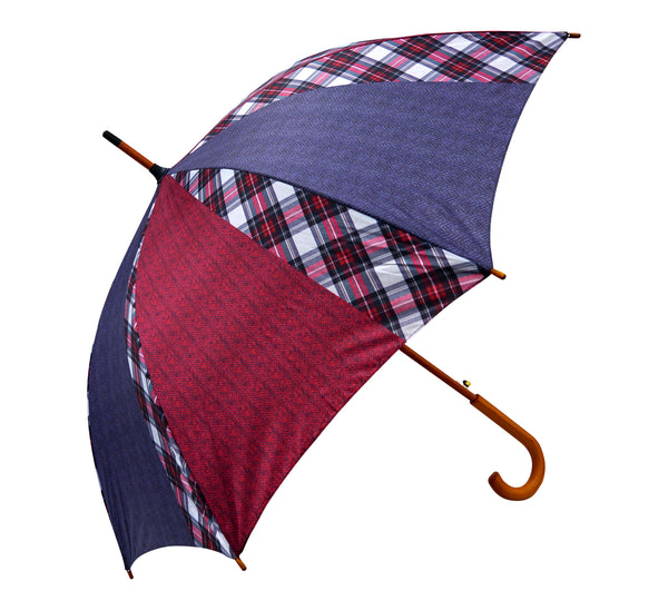 Blue and Red Herringbone Stewart Dress Umbrella - Chantam - Beautifully designed Tartan and Harris Tweed handbags and accessories