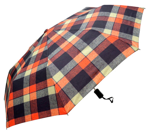 ST Buchanan Tartan Tweed Pattern Navy Orange colour Umbrella with pongee fabric - Chantam - Beautifully designed Tartan and Harris Tweed handbags and accessories