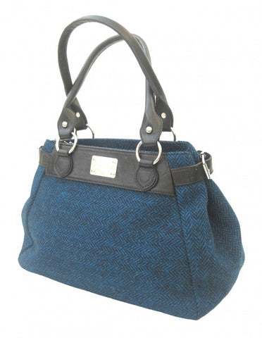 Harris Tweed Handbag Herringbone Turquoise (code:Melissa-HT-Turq) - Chantam - Beautifully designed Tartan and Harris Tweed handbags and accessories