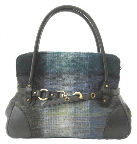 Rosie blue and navy Mohair Handbag (code:Rosie-bn-M) - Chantam - Beautifully designed Tartan and Harris Tweed handbags and accessories