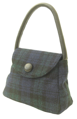 Harris Tweed Black Watch Handbag Sarah - Chantam - Beautifully designed Tartan and Harris Tweed handbags and accessories