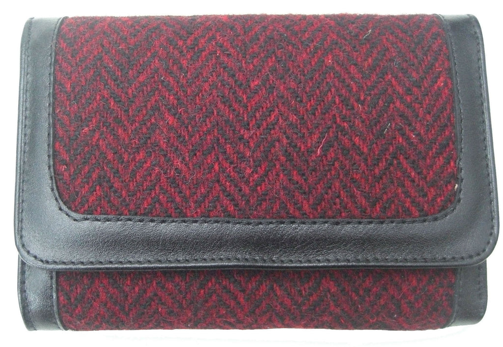 Harris Tweed Herringbone Red Purse - Chantam - Beautifully designed Tartan and Harris Tweed handbags and accessories