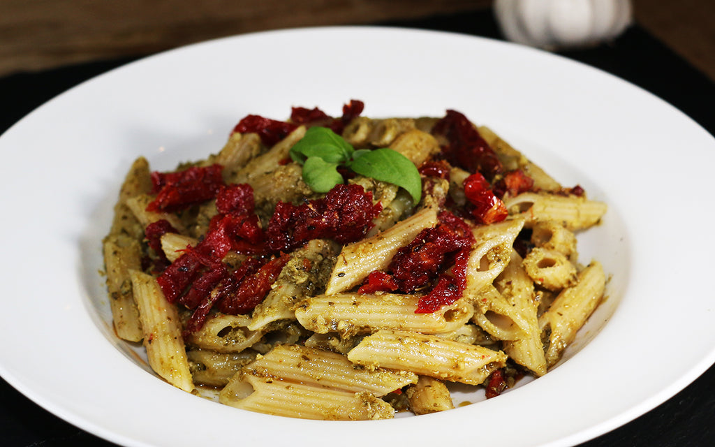 FiberPasta Penne with Pesto and Sun Dried Tomatoes Low Glycemic High Fiber High Protein Non-GMO