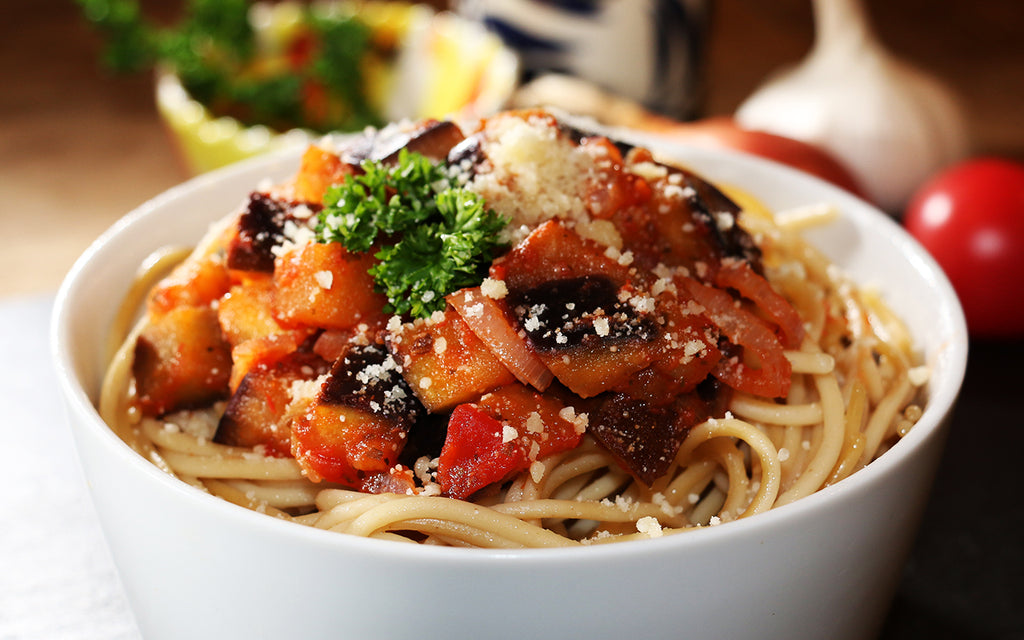 Spaghetti FiberPasta with Eggplant Shallot Tomato Sauce Garlic Parmesan Cheese Healthy Low Glycemic